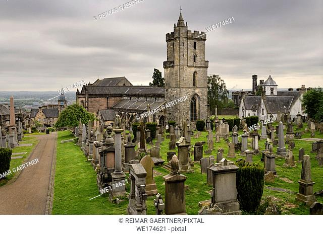 Church of the Holy Rude or Holy Cross with Bell tower and Royal Cemetery with historic gravestones on Castle Hill above Stirling Scotland UK