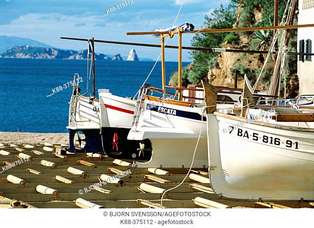 Catalan traditional boats in Sa Riera harbour. Costa Brava, Girona province. Spain