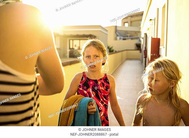Girls near hotel