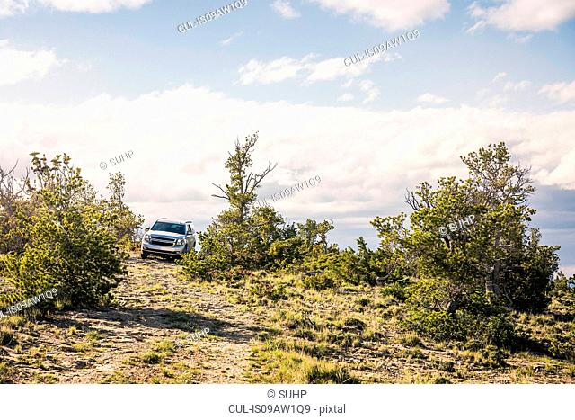Off road vehicle driving over hill, Bridger, Montana, USA