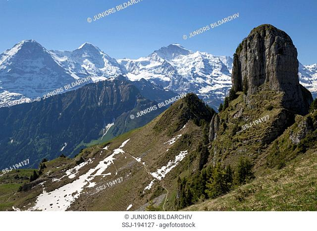 Alpine landscape with the moutains Oberberghorn, Eiger, Moench and Jungfrau. Swiss Plateau, Bernese Alps, Switzerland