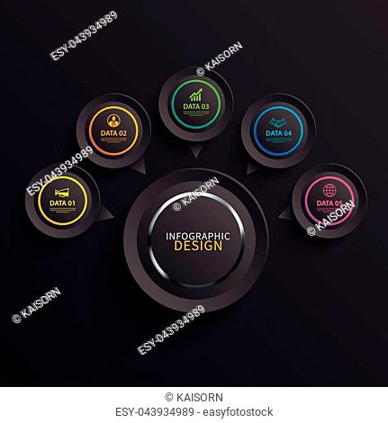 Infographics circle paper with 5 data template in dark background. Vector illustration abstract glossy. Can be used for workflow layout, business step, brochure