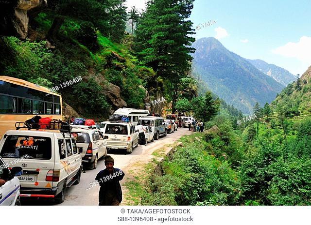 Traffic jam in the mountain on the weekend