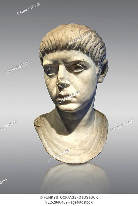 Roman portrait bust of a young man from the reign of Nero, 54-68 AD. This portrait can be dated to the reign of Nero due to the facial features and hair style