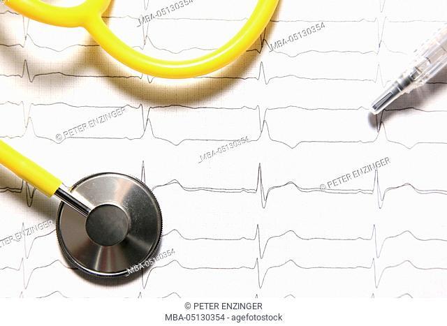 Stethoscope, ECG, syringe
