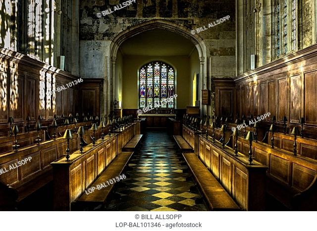England, Warwickshire, Stratford-upon-Avon. Interior of the Guild Chapel which overlooks the site of New Place where William Shakespeare died in April 1616