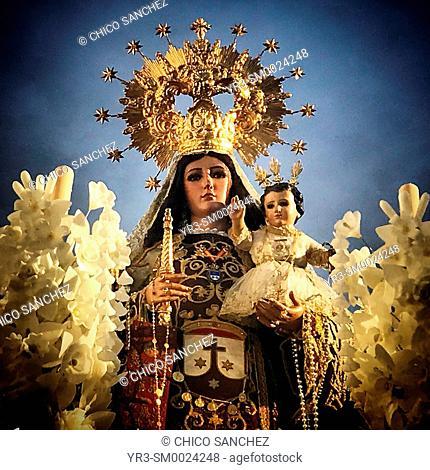 An image of Our Lady of Carmel (Nuestra Señora del Carmen) is displayed during Easter Holy Week in Prado del Rey, Sierra de Cadiz, Andalusia, Spain