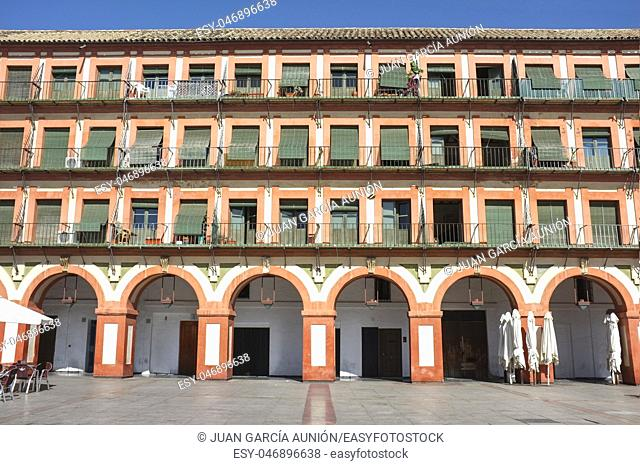 Grand 17th-century Corredera Square, Cordoba, Spain. Balconied apartments
