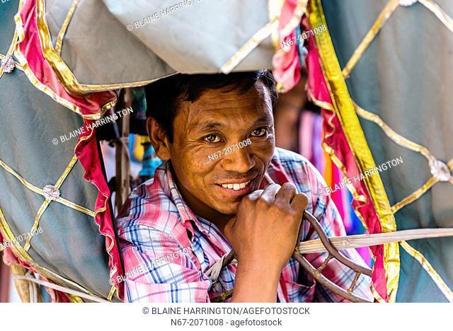 A bicycle rickshaw driver, Kathmandu, Nepal