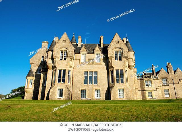 Back of Glengorm Castle (also called Castle Sorn), near Tobermory, Isle of Mull, Scotland, UK