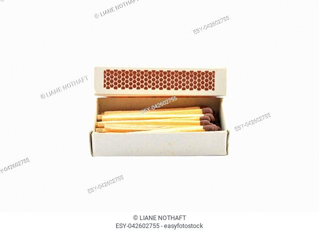 Open matchbox on white background
