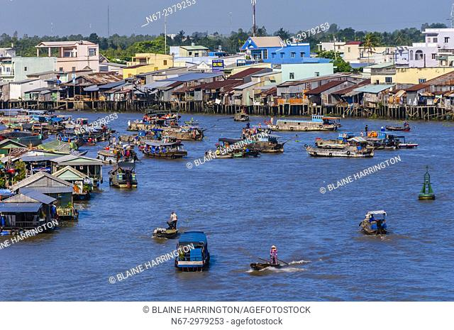 Overview of the Cai Rang Wholesale Floating Market, near Can Tho, Mekong Delta, Vietnam