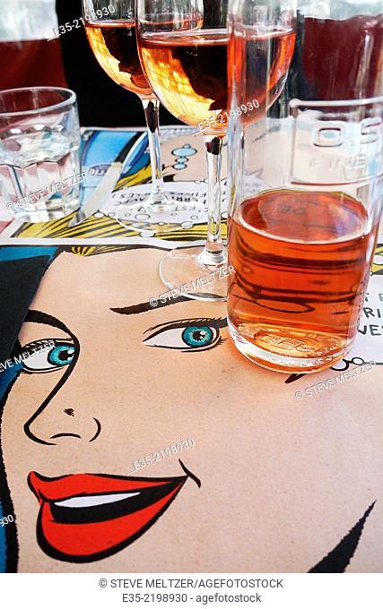 A restaurant with a pop-art theme