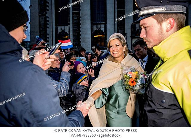 King Willem-Alexander and Queen Maxima of The Netherlands visit the slotkirche in Wittenberg, Germany, 9 February 2016. Maarten Luther is buried in this church