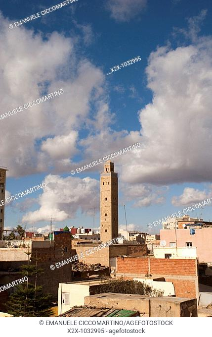 Minaret of the mosque of the Municipality, Oujda, Oriental region, Morocco
