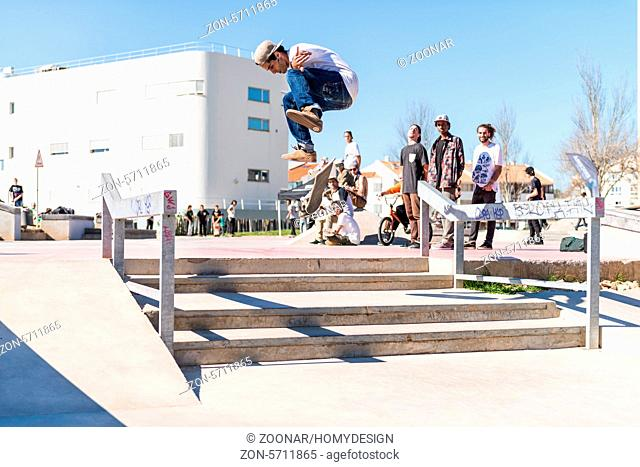CASCAIS, PORTUGAL – MARCH 8 2014: Joao Santos during the Levi's Skateboarding Collection Event