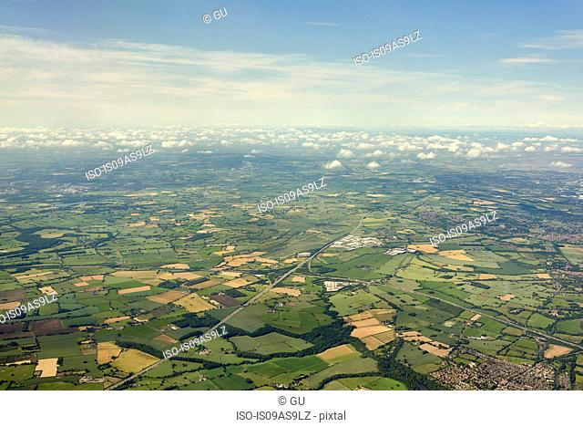 Aerial view of fields and cloudscape, Manchester, Lancashire, England, UK