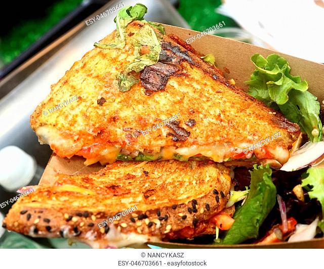 Multigrain bread grilled with mozzarella cheese, tomato, lettuce and salad
