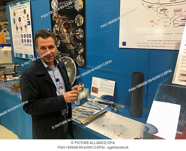 28 May 2018, France,Prévessin: Oliver Bruening, deputy project director for the extension of the European Organization for Nuclear Research's (CERN) Particle...