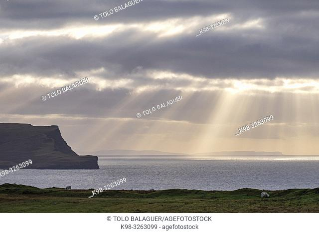 sunset, Neist Point, Isle of Skye, Highlands, Scotland, United Kingdom