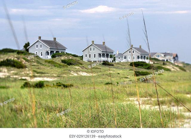 Scenic houses at coast of Bald Head Island, North Carolina