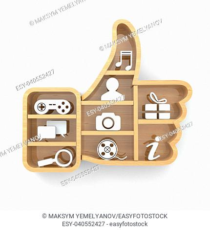 Like. Social media concept. Thumb up and apps icons . 3d