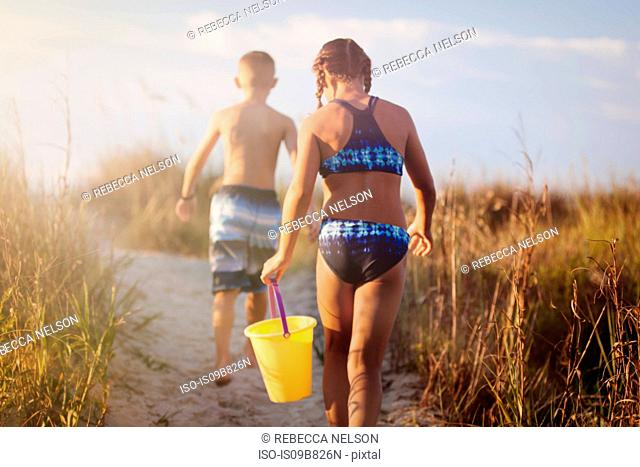 Rear view of girl and boy walking over grassy dune, North Myrtle Beach, South Carolina, United States, North America