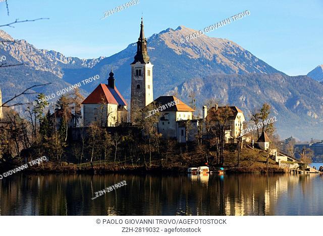 Slovenia, Lake Bled and Santa Maria Church