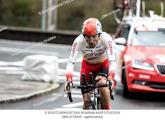Luis Angel Mate Mardones at Zumarraga, at the first stage of Itzulia, Basque Country Tour. Cycling Time Trial race