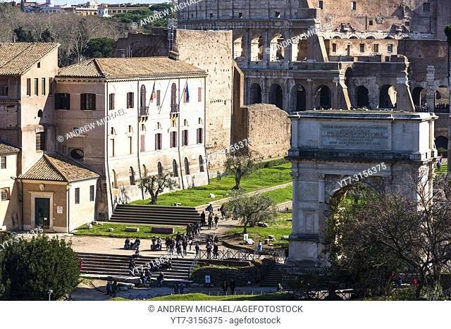 Arch of Constantine and the Coliseum seen from Palatine Hill, Rome, Italy