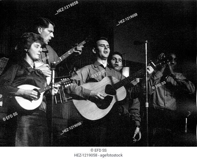 The Spinners, Cecil Sharp House, London, c1960s. The Folk Beatles: Mick Groves, Cliff Hall, Hughie Jones and Tony Davis with Jacqui McDonald