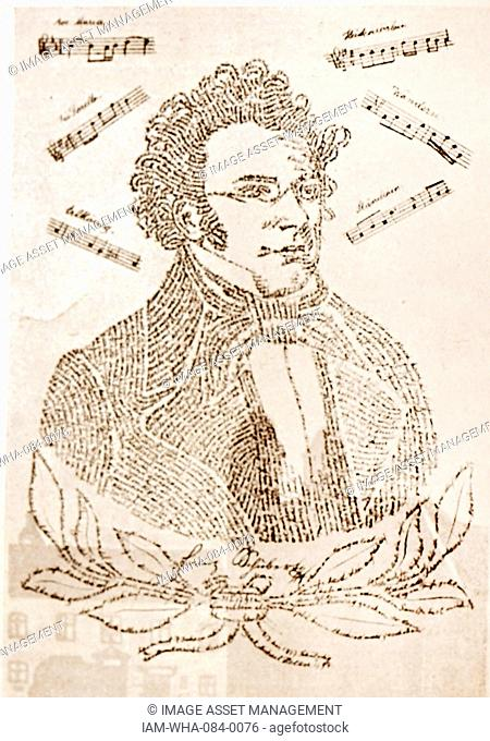 Calligraphic portrait of Franz Schubert (1797-1828) an Austrian composer, consisting of the biography and bibliography. Dated 19th Century