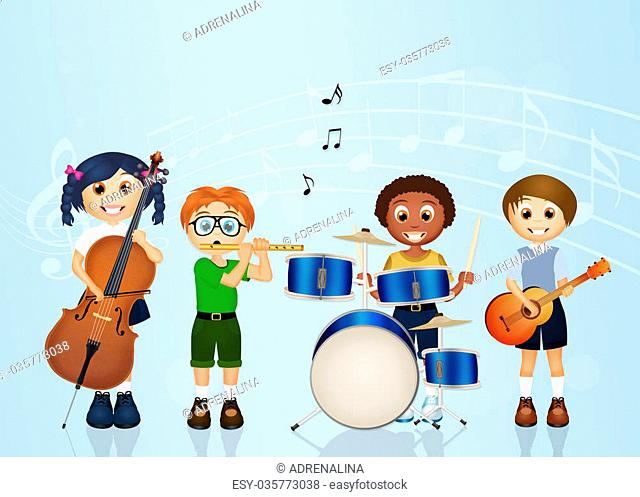 illustration of children band music