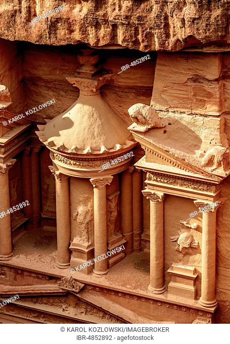 The Treasury, Al-Khazneh, detailed view, Petra, Ma'an Governorate, Jordan