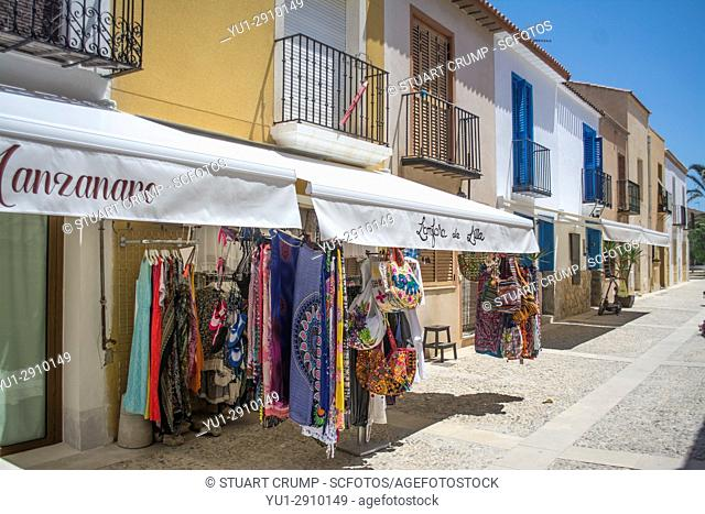 Shop front on the narrow main street on the island of Tabarca Spain