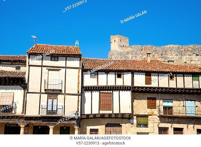 Castle from Plaza del Trigo. Atienza, Guadalajara province, Castilla La Mancha, Spain