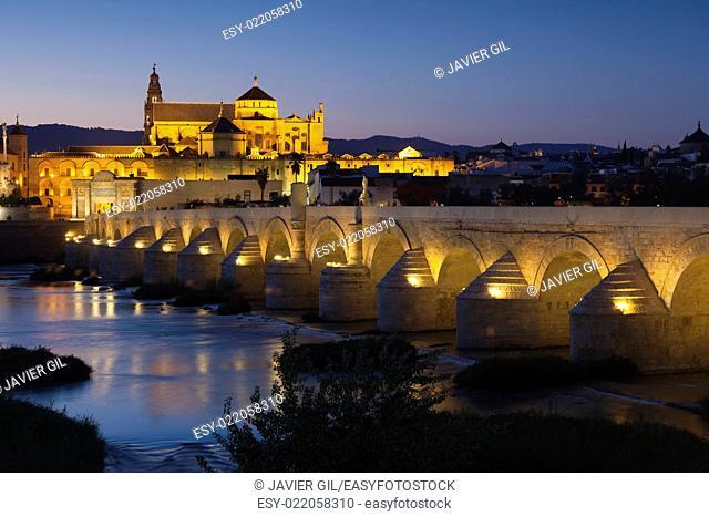 Roman bridge and mosque-cathedral, Cordoba, Andalucia, Spain