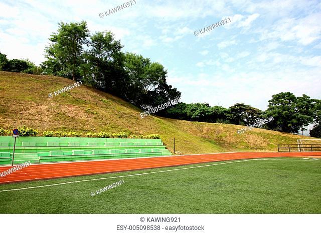 Stadium chairs and running track