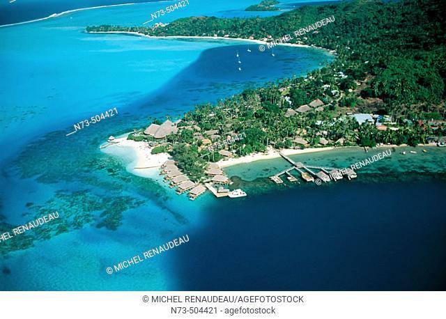 Lagoon aerial view. Bora Bora. Polynesia