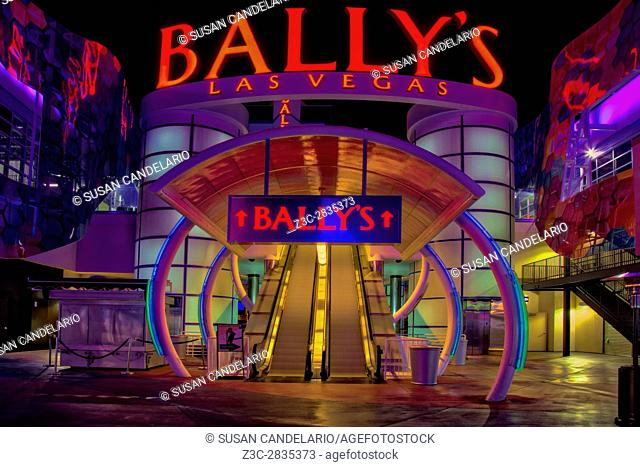 Ballys Hotel Las Vegas - Illuminated and colorful escalators at the Ballys Hotel and Casino in Las Vegas, Nevada