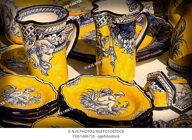 Ceramic decorated bowls in a sample of handcrafts, Madrid, Spain, Europe