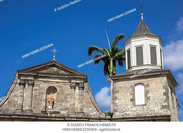 France, Martinique, Le Marin, Joffre square, the Saint-Etienne church built by the Capuchin priest Jean-Marie Coutances in 1766