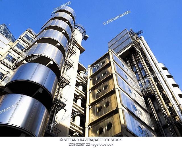 Architectural detail of The Lloyds of London Building - London, England