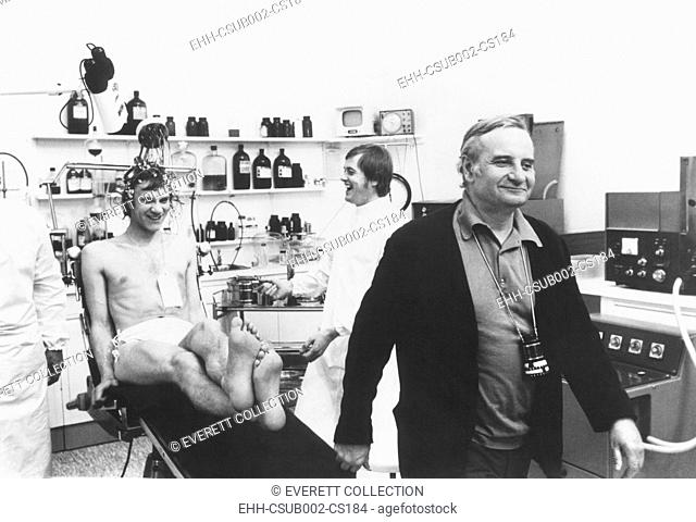 Malcolm McDowell and Director Lindsay Anderson during the filming of O LUCKY MAN! 1973. (CSU-2015-11-1199)