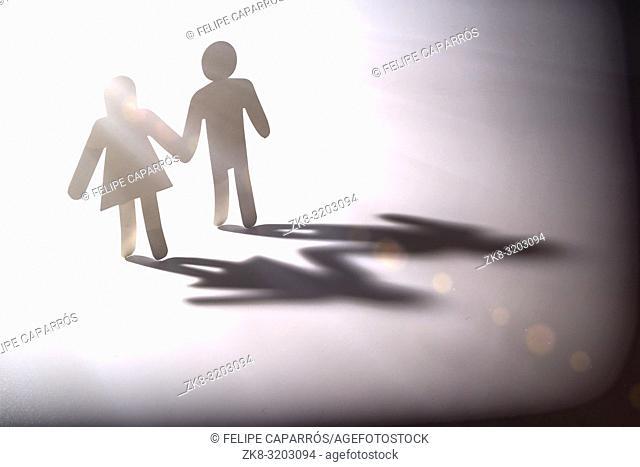 Couple go into the light, conceptual image