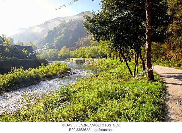 Bidasoa River, Via Verde del Bidasoa, Endarlatsa, Navarra, Basque Country, SpainBidasoa River, Gipuzkoa, Basque Country, Spain
