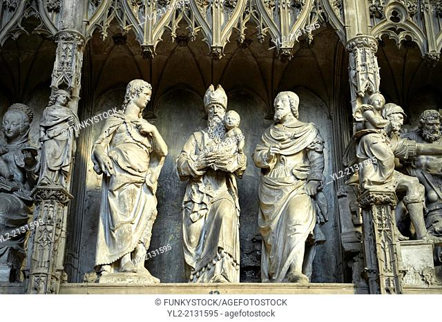 16th century flamboyant gothic Choir screen and ambulatory of the Cathedral of Chartres, France. A UNESCO World Heritage Site