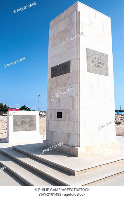 Australian monument at the Allied War Cemetery at El-Alamein, Egypt, honouring casualties of the Western Desert campaign of World War Two