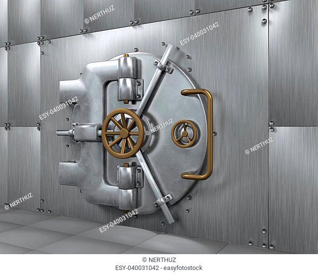 Close Bank Vault Door. 3D render