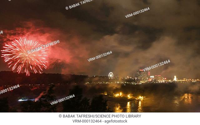Timelapse of a fireworks display over the Niagara Falls, on the USA-Canada border